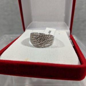 Genuine Silver Diamond Ring (w/paperwork, sz7)